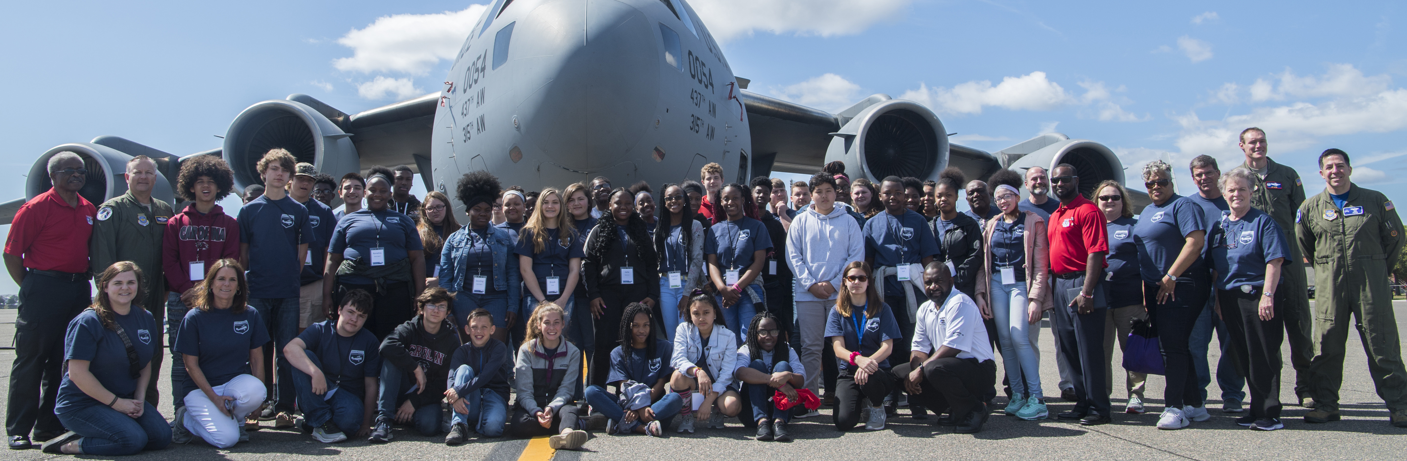 Participants from the Take Flight Aviation Camp pose in front of a C-17 Globemaster III April 18, 2019, at Joint Base Charleston, S.C. The middle school students from Colleton County received briefings from current and former pilots and commanders and also took a tour of one of JB Charleston's C-17s.